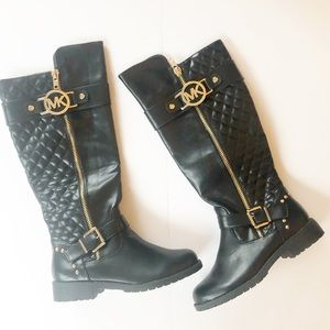 NEW Michael Kors Black Quilted Moto Riding Boots